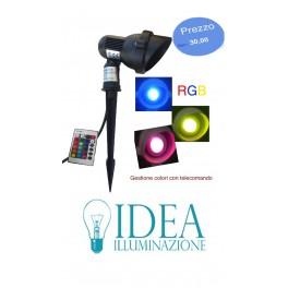 Faretto picchetto da giardino con lampada led Gu10 RGB