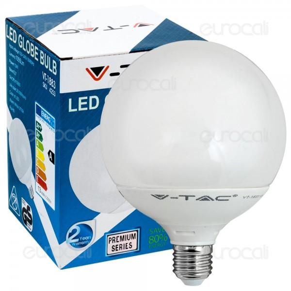 lampadina globo led : Lampadina a Led 15W Globo V-TAC VT-1898 E27 luce calda 2700K